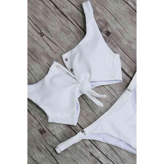 Leyna Beyaz Çıtçıtlı Şık Bikini Takım TM4210