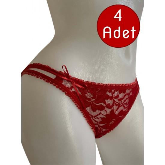 Gümüş Kırmızı Bikini Dantelli Külot 5001K 4lü Paket