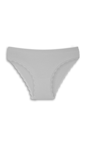Gümüş Beyaz Kenarları Dantelli Slip Bayan Külot TM694