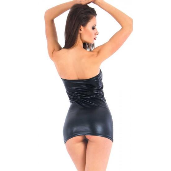Leyna Siyah Deri Görünümlü Fantazi Elbise TM0906
