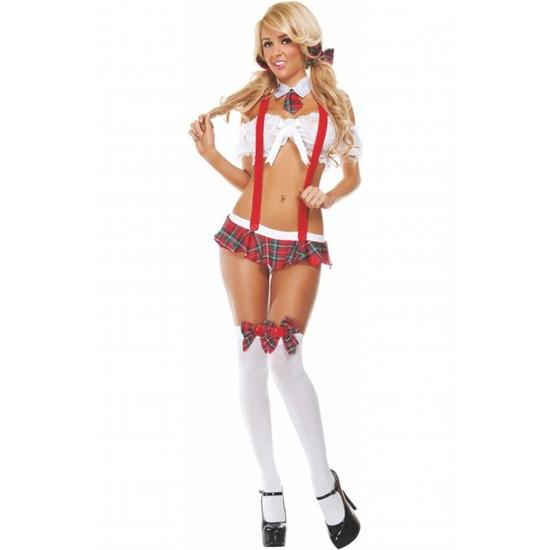 Leyna Beyaz Fantazi Öğrenci Kostümü TM3005