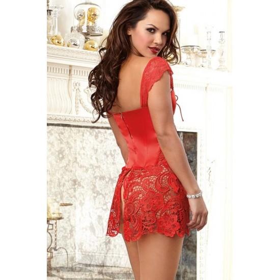 Leyna Kırmızı Deri Mini Sexy Elbise TM8019