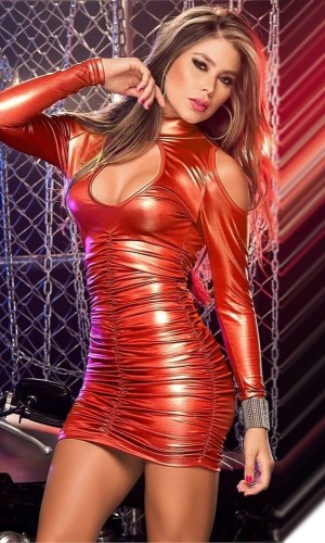 Leyna Kırmızı Deri Mini Sexy Elbise TM8024