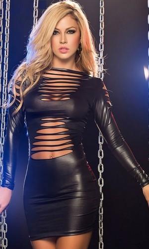 Leyna Siyah Deri Mini Sexy Elbise TM8029
