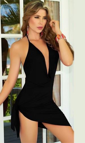 Leyna Siyah Seksi Mini Elbise TM8046