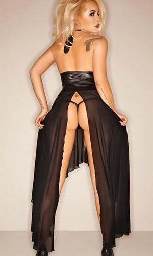 Leyna Siyah Seksi Uzun Elbise TM8058