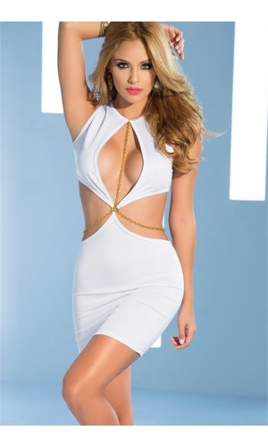 Leyna Beyaz Zincirli Seksi Mini Elbise TM8087