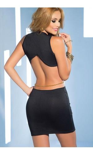 Leyna Siyah Zincirli Seksi Mini Elbise TM8087