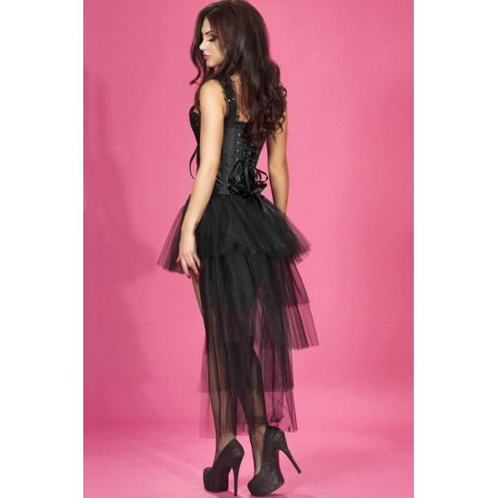 Leyna Siyah Tüllü Fantazi Elbise TM8098