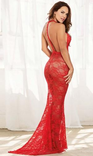 Leyna Kırmızı Uzun Transparan Elbise TM8100
