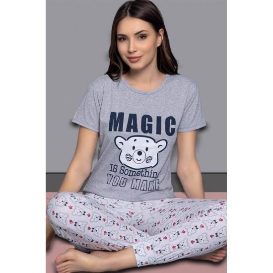 Leyna Pamuklu Kısa Kol Kadın Pijama Takımı TM2057P