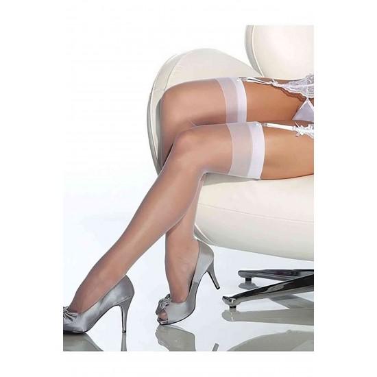 Leyna Beyaz Dantelsiz Jartiyer Çorabı TM5555-2