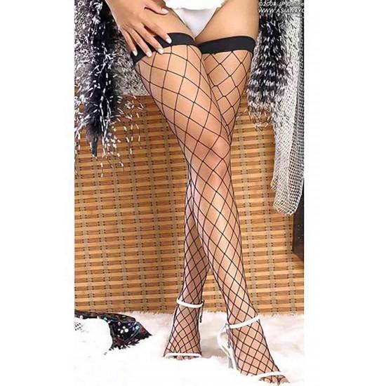 Leyna Siyah Fileli Jartiyer Çorabı TM7905