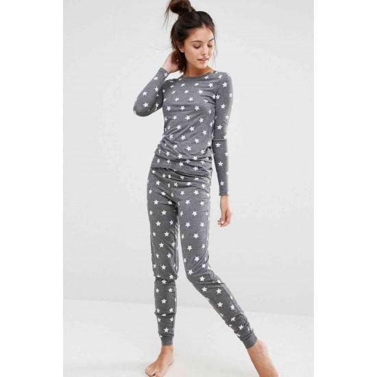 Merry See Gri Yıldız Desenli Şık Pijama Takımı MS4002