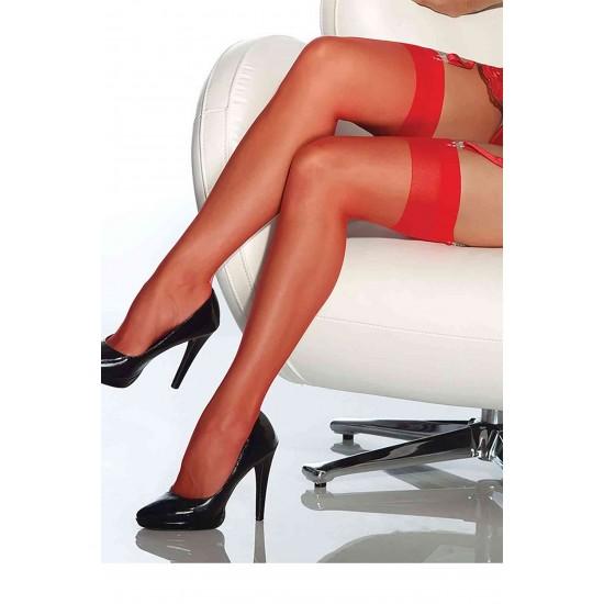 TeniModa Kırmızı Dantelsiz Jartiyer Çorabı TM5555-3