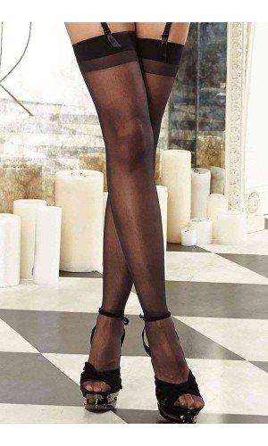 Leyna Siyah Dantelsiz Jartiyer Çorabı TM5555-1
