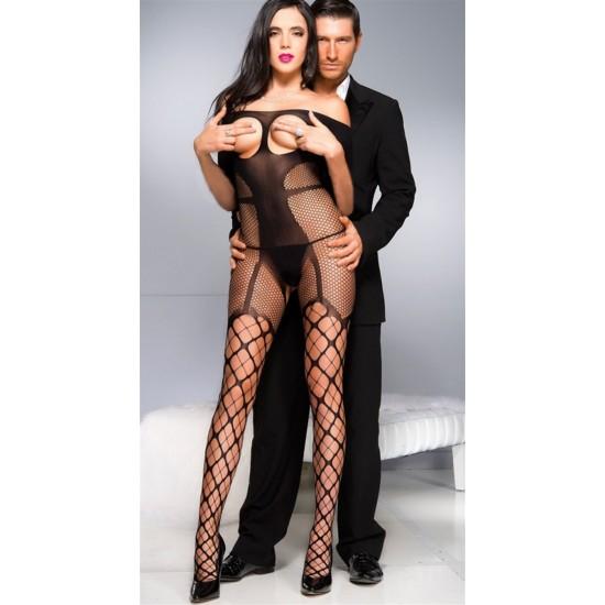 Leyna Siyah Straplez Vücut Çorabı TM5026