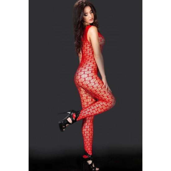 Nightlight Kadın Kırmızı Fileli Askılı Fantezi Vücut Çorabı