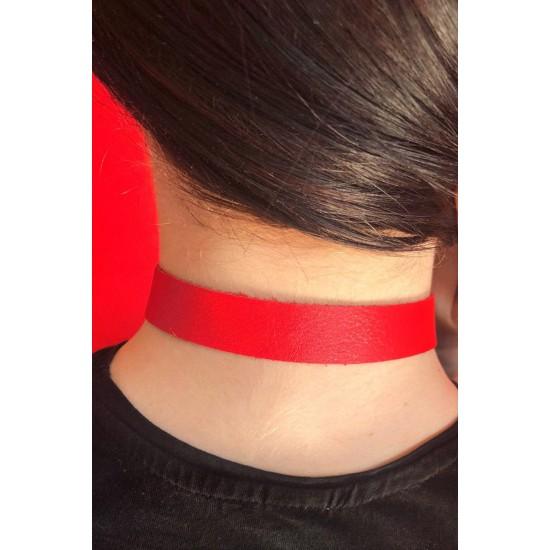 Pamuktenim Kırmızı Deri Harness Boyunluk 1041