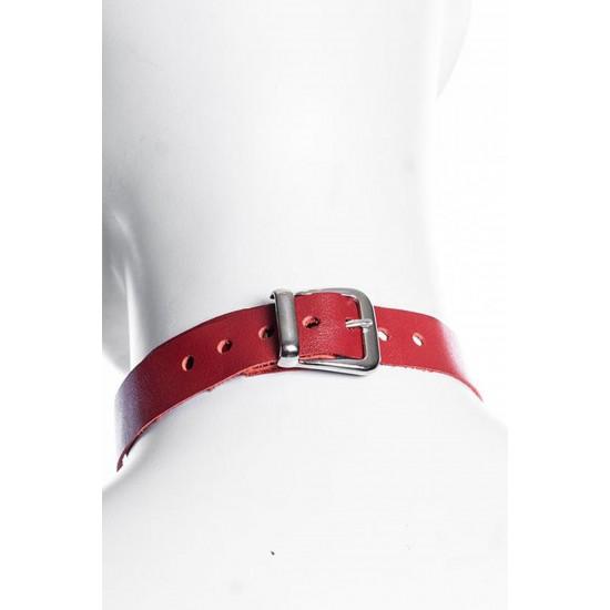 Pamuktenim Özel Tasarım Kırmızı Deri Boyunluk Harness 1074