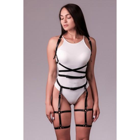 Pamuktenim Özel Tasarım Göğsü Açık Siyah Fantazi Deri Jartiyer Takımı Harness Seti 1100