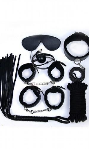 7'Li Siyah Deri Fantezi Kelepçe Kırbaç Tasma Aksesuar Seti 5050