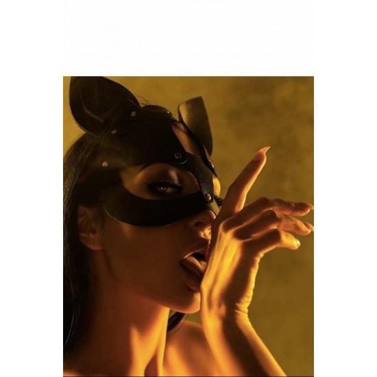 Pamuktenim Deri Siyah Fantazi Kedi Kız Maskesi 7000