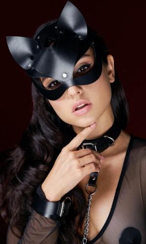 Pamuktenim Deri Siyah Fantazi Kedi Kız Maskesi Tasma Kelepçe Seti 7005