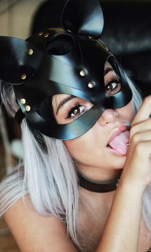 Pamuktenim Deri Siyah Fantazi Kedi Kız Maskesi Ve Şık Boyunluk 7007