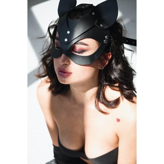 Pamuktenim Deri Siyah Fantazi Kedi Kız Maskesi 7008