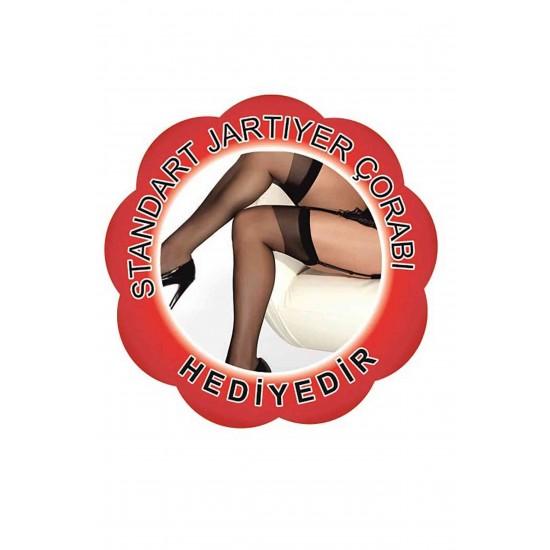 Kırmızı Jartiyerli Özel Bölgeleri Açık Gecelik+ Çorap Hedi̇yeli̇
