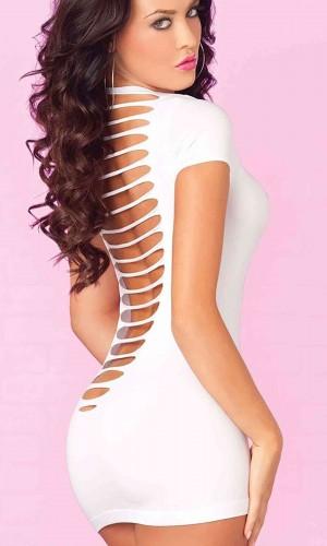 Merry See Seksi Lazer Kesim Beyaz Elbise MS2148