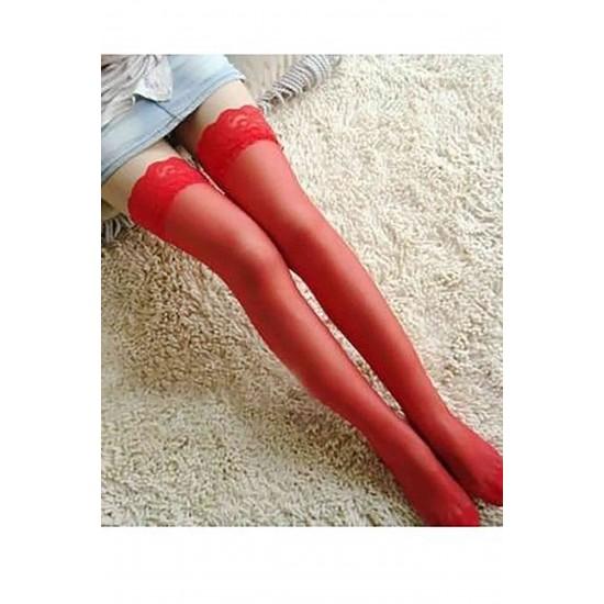 Merry See Kırmızı Düz Silikonlu Dantelli Jartiyer Çorap MS2222-3