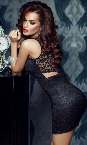 Merry See Siyah Dantel Gece Elbisesi MS22399