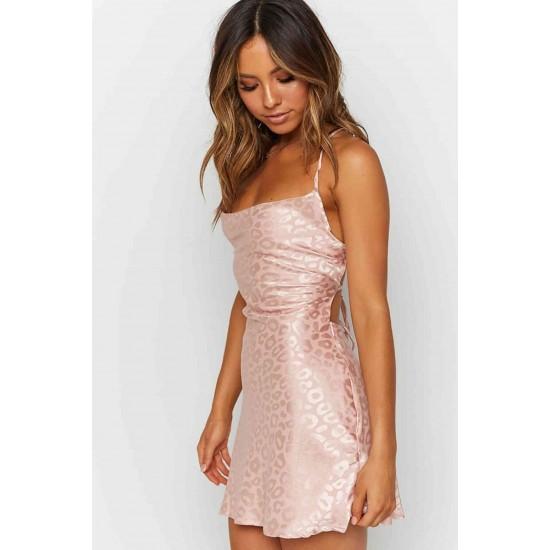 Merry See Baskılı Saten Mini Elbise Pembe MS2327-Pembe