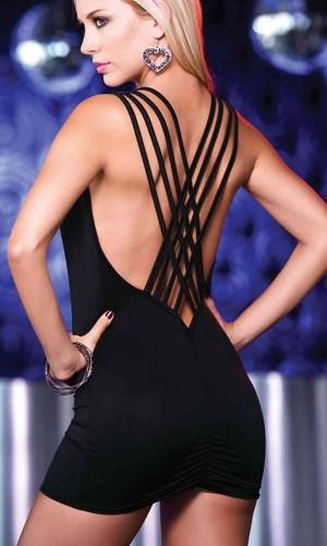 Merry See Özel Tasarım Siyah Mini Elbise MS2328-2