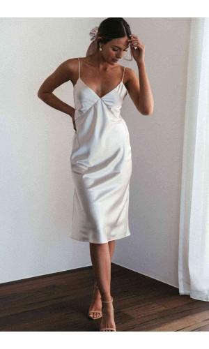 Merry See Sırt Dekolteli Uzun Saten Gecelik Elbise Beyaz MS2329-Beyaz