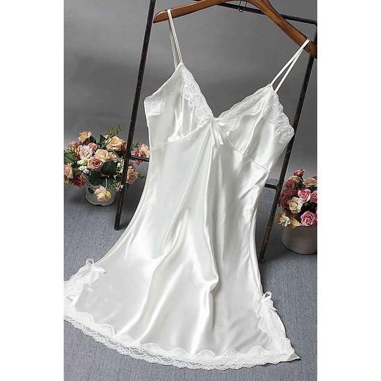 Merry See Saten Dantelli Kısa Gecelik Beyaz MS2331-Beyaz
