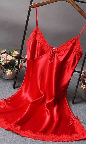 Merry See Dantelli Kısa Saten Gecelik Kırmızı MS2331-Kırmızı