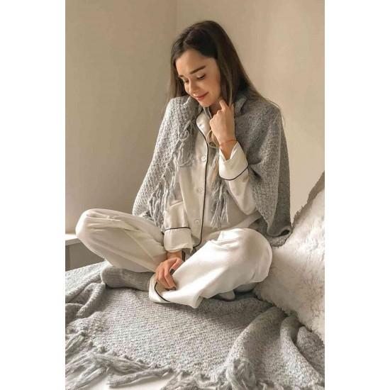 Merry See Saten Pijama Takım Düğmeli Beyaz MS2333-Beyaz