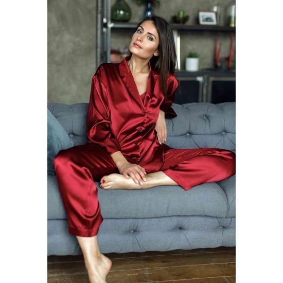 Merry See Saten Pijama Takım Kırmızı MS2335-Kırmızı