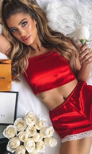Merry See Dantel İşlemeli Saten Şortlu Pijama Takım Kırmızı MS2342-Kırmızı