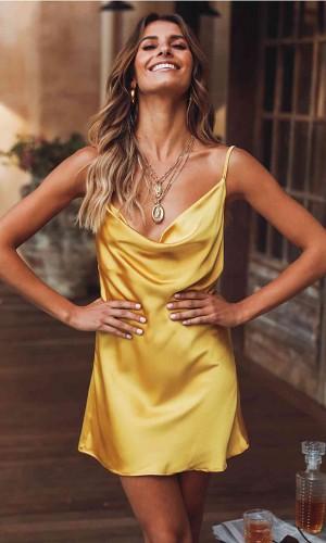 Merry See Gögüs Degajeli Saten Elbise Sarı MS2349-Sarı