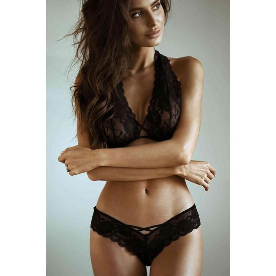 Merry See Sexy Dantel Sütyen Külot Takım İç Giyim Siyah MS2404-Siyah