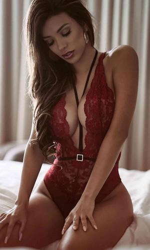 Merry See Kırmızı Dantel Body Fantazi İç Giyim MS2510