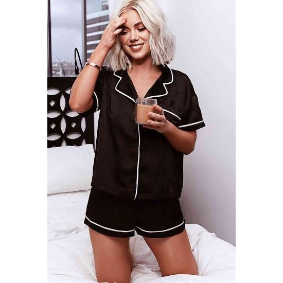 Merry See Ara Biyeli Saten Şortlu Pijama Takım Siyah MS3242-Siyah