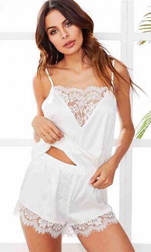 Merry See Dantel İşlemeli Saten Şortlu Pijama Takım Beyaz MS3245-Beyaz