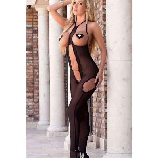 Merry See Fantazi Siyah Zincirli Vücut Çorabı MS3250-1