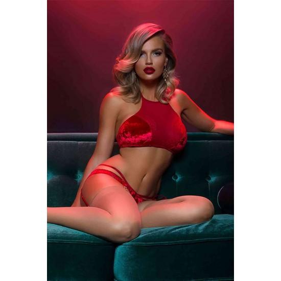 Merry See Kadife Seksi Jartiyer Takım Kırmızı MS3305-Kırmızı