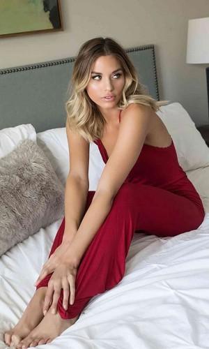Merry See Kırmızı Dantel İşlemeli Askılı Eşofman Pijama Tulum MS4031